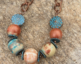 Cooper Vintage Necklace With Wood and Turquoise Metal Beads, Autumn Fall Wear, Costume Jewelry, Choker Necklace
