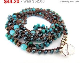 "Holiday Sale! Crochet wrap bracelet, boho necklace, beaded, ""Atlantis"", turquoise, bohemian jewelry, crochet jewelry, semi precious, fall..."
