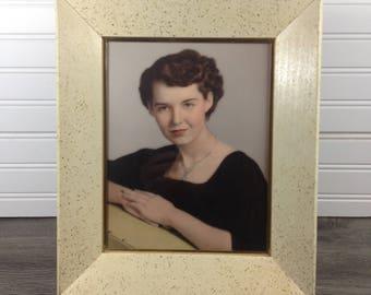 Vintage Mid Century Modern White Cream Gold Speck Wood Frame Coved 10 x 13