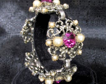 Vintage Link Bracelet with Purple Rhinestones and Fauz Pearls - Victorian Revival Costume Jewelry
