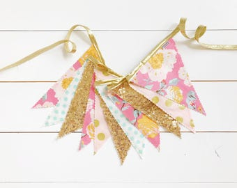 15% off Sale! - Pink, Mint, Blush, & Gold Floral Pennant Banner - Bunting, Party Decoration, Photo Prop, w/ Sequin Fabric