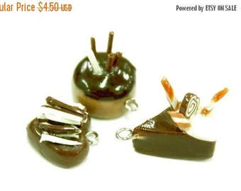 Miniature Chocolate Cakes Polymer Clay Foods Supplies for Beaded Jewelry Charm 3 pcs