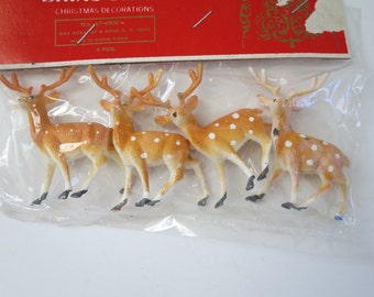 Vintage Shiny Brite Speckled Mini Reindeer, Christmas Holiday Spotted Reindeer,  Christmas Village Putz House Craft Supplies, Miniature Deer
