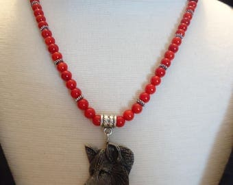 """Handmade Beaded 6mm Red Coral Gemstone and Silver Tone Beaded Necklace w/ Artist Signed Pewter Wolf Head Pendant, 19"""" , Nature Inspired"""