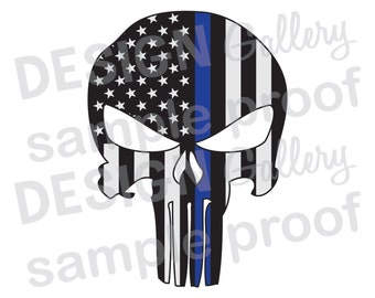 American Flag Punisher- JPG image & SVG DXF cut - Thin Blue Line Mask Skull Helmet Law Enforcement Police Sheriff Printable Digital Iron On