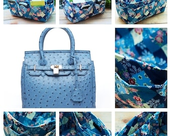 Handbag organizer insert practical and Easy to Use blue floral Large 25x10cm