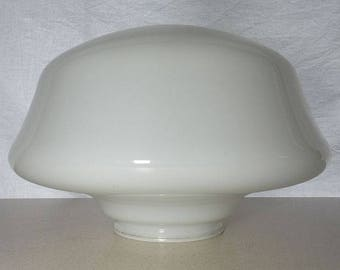 "Vintage 15"" Old Milk Glass School House Ceiling Mount Light Fixture Globe Shade"
