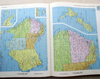 1971 Rand McNally Cosmopolitan World Atlas Book ~ Maps Countries States Cities