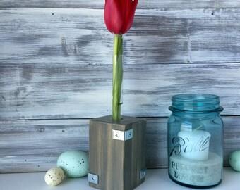 Test tube Bud vase, flower vase, Industrial designed gray vase, wood and metal.
