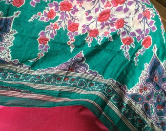 "Large cotton scarf shawl antique India very soft 42x40"" green/red/purple Cotton voile"