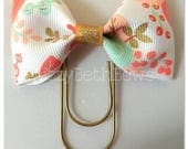 Planner clip, bookmark, planner bow clip, bow bookmark, white with peach roses, gold, peach, mint, coral