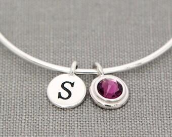 Mothers Bracelet Initials, New Mom Initial Bracelet, New Mommy Gift, Silver Birthstone Initial Jewelry, February Birthstone Bracelet