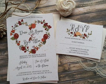 Rustic Wedding Invitation, Floral Wedding Invitation, Shabby Chic Wedding Invitation, Rustic Floral Wedding Invitation, Elegant Wedding