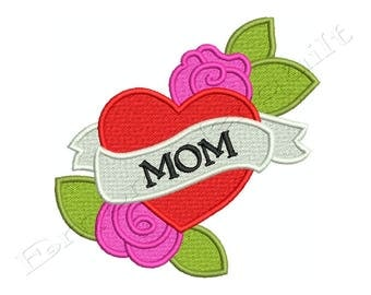 Mothers Day Heart MOM - Machine Filled Embroidery - Instant Digital Download