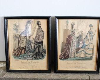 Vintage Victorian Magazine Journal Des Demoiselles 1800s Prints / Victorian Era French Fashion Illustration / Black Wood Frame / Home Decor