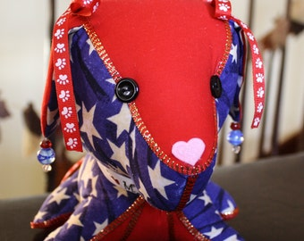 Decorating Stuffed Dog in Red, White, and Blue Patriotic Fabric and Trims