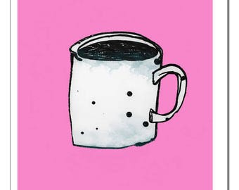 Coffee Mug Illustration Art-Print