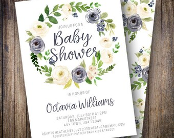 Baby Shower Invitation, Greenery, Boho Baby Shower, Boy Baby Shower Invite, Gender Neutral Invite, Watercolor Floral, Navy, Cream, 809