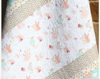 Baby Quilt, Girl Bedding, Littlest, Toddler Blanket, Baby Bedding Crib Bedding Shabby Chic Pastels Coral Mint Green Grey Pink Ready to Ship