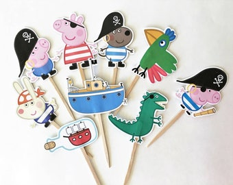 Pirate Peppa Pig Cake toppers