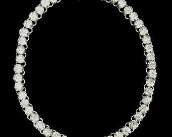 Vintage Retro Mid-Century Large Sparkling Rhinestone Elegant Fashion Jewelry Choker Necklace