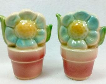 Shawnee Flower Pot Salt Pepper Shakers Gambles Sales Sticker Blue Yellow Flowers in Terra Cotta Pots Porcelain