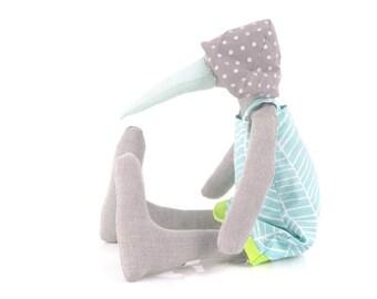 Bird Nursery Decor , bird doll , duck Plushie , Stuffed Animal , Girl Room Decor , Bird Ooak plush , primitive goose doll ,  Baby Bird Doll