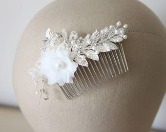 Silver floral hair comb, fredj water pearl and crystal comb, decorative comb, bridal comb - 'Milly'