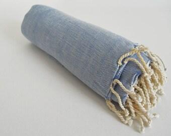 SALE 50 OFF / Turkish Beach Bath Towel / Linen - Cotton / Blue