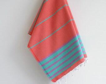 NEW / SALE 50 OFF/ BathStyle / Turkish Beach Bath Towel / Pomegranate-Green / Wedding Gift, Spa, Swim, Pool Towels and Pareo
