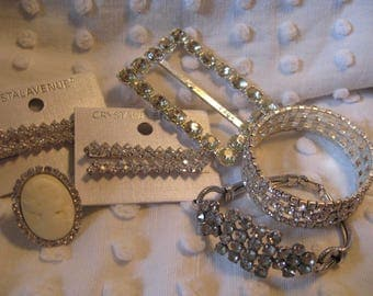 RESERVED for Foxy //////Jewelry Lot// Ring// Hair Pins// Bracelets// Vintage Buckle// Craft and Repurpose Lot// Wear or Craft Art Supplies
