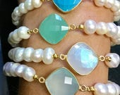 Pearl Stretch Bracelet, Turquoise, Sea Foam Chalcedony, Blue Chalcedony Moonstone Silver Gold Vermeil, STACKING BRACELET Casual Dressy