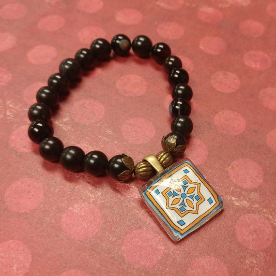 Stretch Tile Charm Bracelet, Blackstone, Spanish, Mexican, Catalina and Mediterranean Tile Inspired with Silver Accents