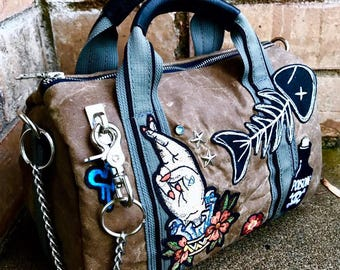 Waxed Canvas duffel bag, Canvas and Leather Duffel Bag CHOICE of sizes, Custom embellished - Laurel Dasso