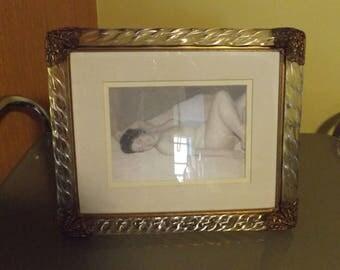 Vintage picture frame,Vintage glass and metal frame, Pin up girl,picture frame, Vintage Nude woman