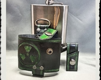 Leather Flask Holster - RadioActive -