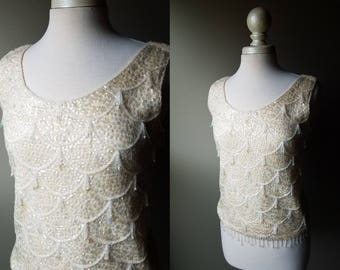 Vintage 50's Mermaid Tank Top White Sequin Sleeveless Top Beaded Shimmy Blouse Ladies Shake Formal Top Small Medium Women's 1950's White S M