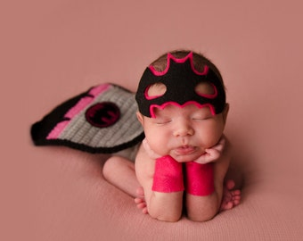 Batman Newborn Photo Prop for Baby Girl
