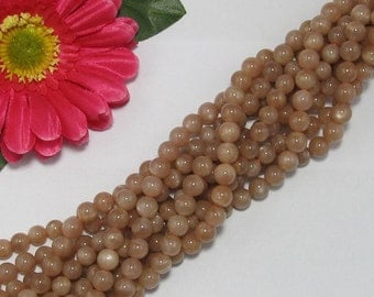 2 Strands Natural Moonstone 8mm round Loose Beads