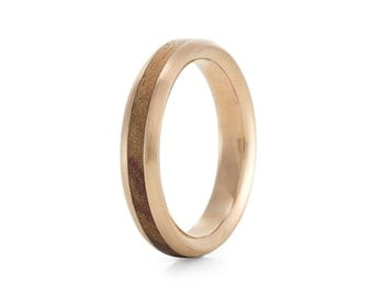 Native Oval Rose  - 9ct rose gold & wood ring