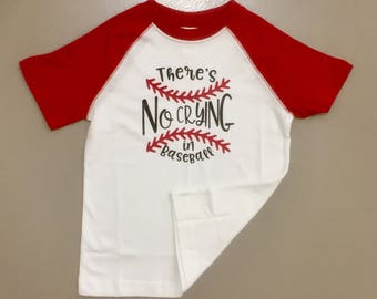 Boys Raglan tee- no crying in basball