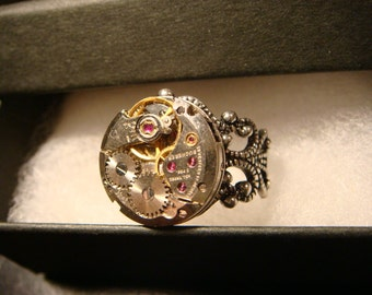 Steampunk Watch Movement Ring with Exposed Gears (2225)