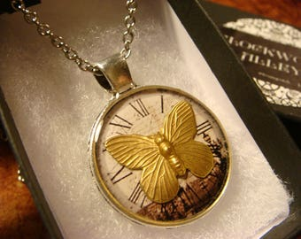 Butterfly over Clock Pendant Necklace (2415)