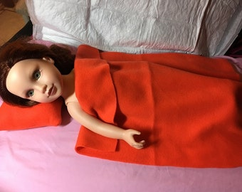 Bright orange Fleece pillow & blanket set for 18 inch dolls - agfb17