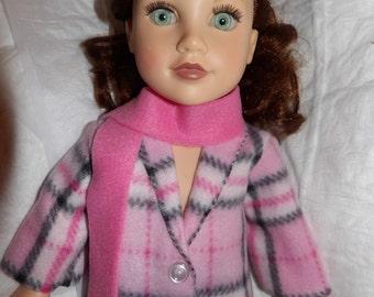 Pink plaid Fleece coat & scarf set for 18 inch dolls - ag316