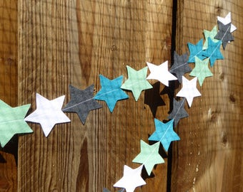 Star Felt Garland in modern fresh colours (teal, mint, grey) - wall decoration perfect for kids room or parties