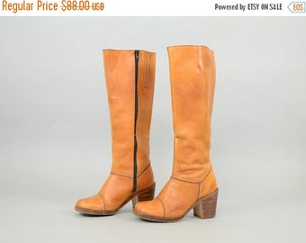 ANNIVERSARY SALE 70's Bohemian BROWN Leather Boots Us 6.5