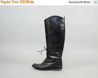 MAY SALE Black Leather Equestrian Riding Boots (US 6.5)