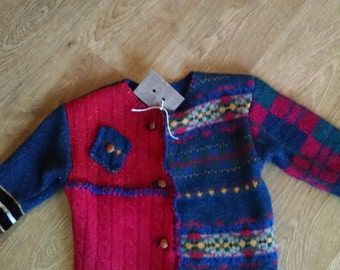 handmade recycled wool sweater child approx size 4
