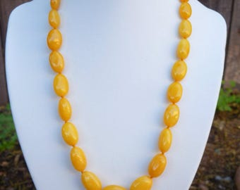 "Baltic Amber Antique Butterscotch Necklace Olive Beads Yolk Natural 19.5"" 20.3 gram"